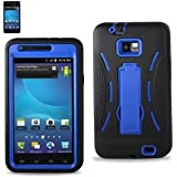At&t Samsung Galaxy S2 Model I777 Premium Heavy Duty Hybrid Case -Outer Silicone, Durable Thick Inner Hard Protector Shell Case W/kickstand Blue/black
