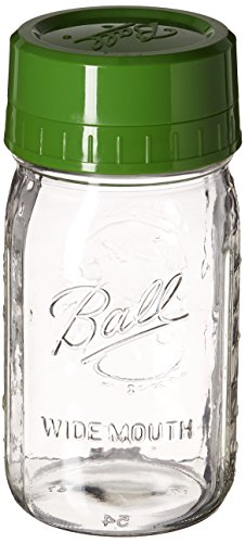Ball Pour and Measure Cap with One Wide Mouth Quart Jar, Green (Ball Jar Plastic Cups compare prices)