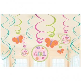 Tweet Baby Girl Shower Hanging Swirl Decorations