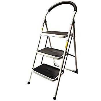 LavoHome 330lbs Upper Reach Reinforced Metal Folding Step Ladder Stool Household Kitchen Use (Three Step Ladder)