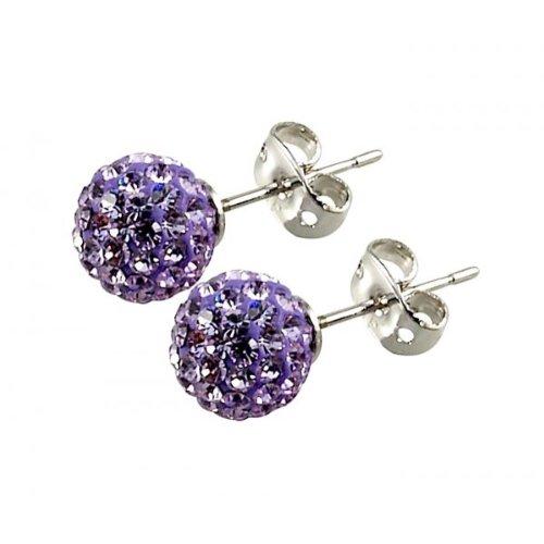 Tresor Paris 'Les Lilas' Lilac Crystal Earrings, 8mm