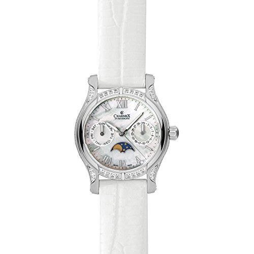 Charmex Granada Femme 31mm Blanc Cuir Bracelet Date Minéral Verre Montre 6215
