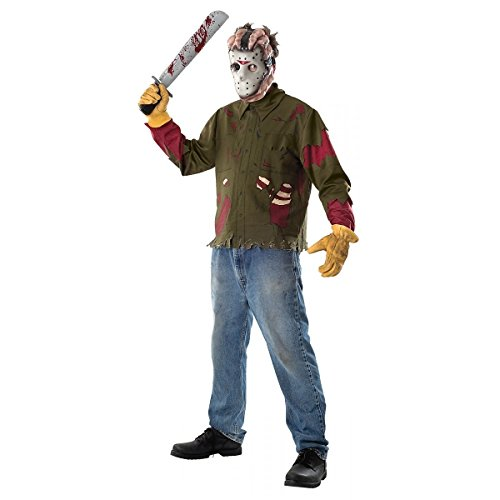 GSG Jason Costume Adult Friday the 13th Horror Mask Shirt Halloween Fancy Dress (Friday The 13th Jason Teen Costume)