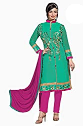 Ethnic For You Chanderi Unstitched Salwar Suit Dress Materials(Green)