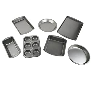 Bakeware Set - Le Juvo 7 Piece Bake Set - Kitchen Bakeware Set - Including Square Cake Pan, Round Cake Pan, Pie Pan, Cookie Tray, Bread & Loaf Pan, 6 Cup muffin Pan, and a Biscuit & Brownie Pan - Made of Heavy Gauge Steel