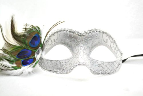 Venetian Peacock Feather Mask White Wedding Acrylic Glitter
