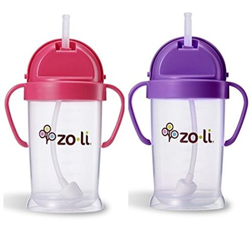 Zoli Baby Bot XL Straw Sippy Cup 9 oz 2 Pack, Pink/Purple