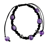 NOVICA Macrame Shamballa Bracelet with Amethyst and .925 Sterling silver, 'Violet Peace'