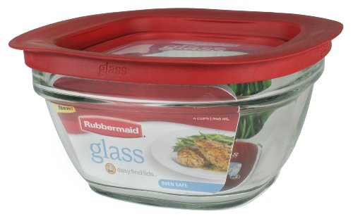 Rubbermaid Easy Find Lid Glass Food Storage Container, 4 cup (2856004) (Glass Freezer Cup compare prices)