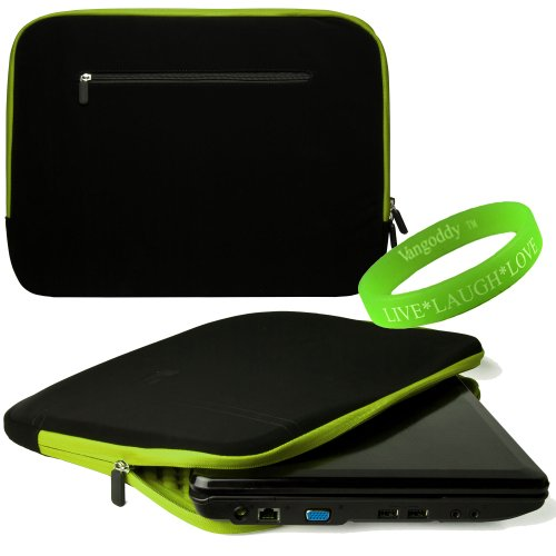 Sumaclife Presents This 15 Inch Laptop Case Onyx With Toxic Green Trim Neoprene Bubble Padded Zippered Sleeve For Dell Xps 15 (Including Z Models) 15 Inch Laptops + Vangoddy Live+Laugh+Love Wristband