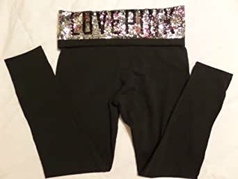 Victoria's Secret LOVE PINK Sequin Bling Yoga Leggings Black Crop Pants Medium M ~Sold Out