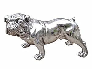 Large Lifesize Standing Silver Bulldog Figure with Diamante Collar