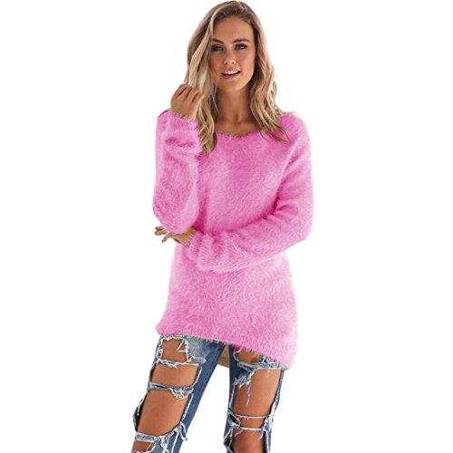 TAORE Womens Casual Solid Basic Jumper Fleece Sweaters Pullover Sweatshirt (XL, Hot Pink)