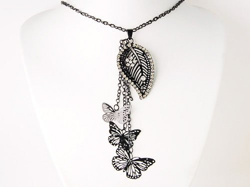 Black Crystal Rhinestone Leaf Stencil Butterfly Tassel Fashion Jewelry Necklace