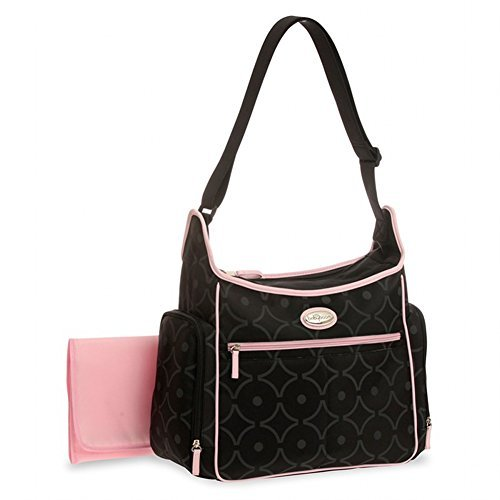 Baby Boom Essential Hobo Black w/ Pink Trim Tote Diaper Bag - 1