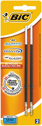 BIC iS1197 mine pour stylo à bille easy glide, 0,4 mm-bleu-lot de 2