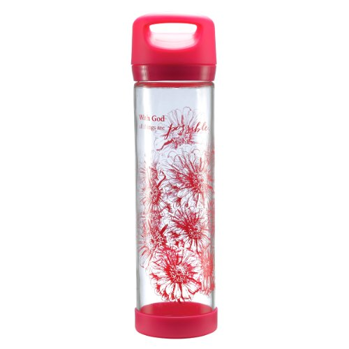"""Pink """"All Things Are Possible"""" Tall Glass Drink / Water Bottle - Matthew 19:26"""