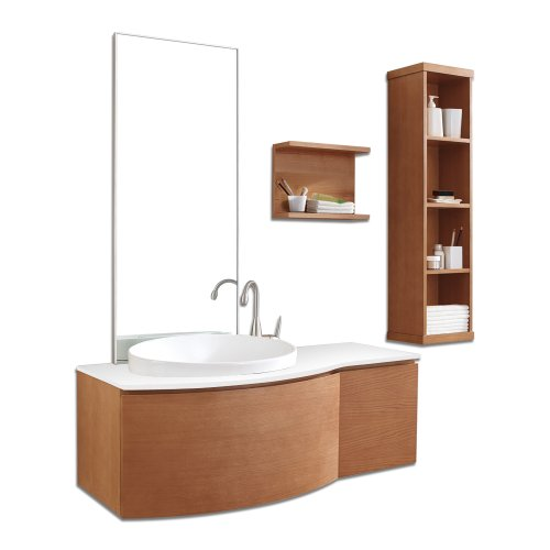 Virtu USA ES-1048-S-CH Isabelle 48-Inch Wall-Mounted Single Sink Bathroom Vanity with Mirror, Ceramic Basin and White Stone Countertop, Chestnut Finish