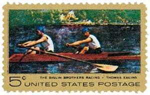 #1335 - 1967 5c Thomas Eakins U. S. Postage Stamp Plate Block (4)