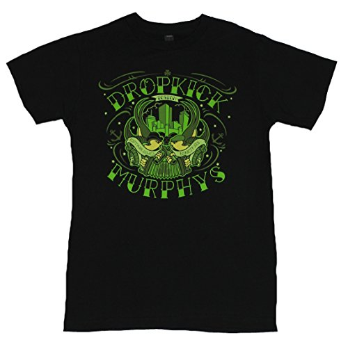 Dropkick Murphys Mens T-Shirt - Green Boston Brid Crest Image (Large) Heather Gray