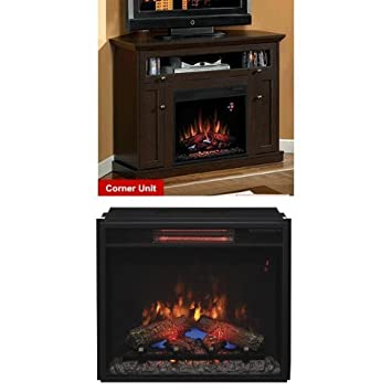 """Complete Set Windsor Dual Mantel in Oak Espresso with 23"""" Infrared Spectrafire Plus Insert with Safer Plug"""