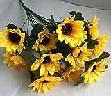 Sunflower Artificial floral Decoration with 7 flowers per Bouquet (1 pack x 4 Bouquets)