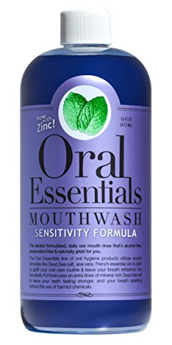 Oral Essentials Sensitive Teeth Mouthwash 16 Oz. Certified Non-Toxic, No Harsh Chemicals, Dentist Formulated, and remineralizes sensitive teeth and roots Less Sensitivity in Two Weeks or Less