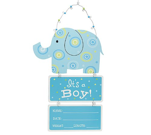"Elephant Wooden Wall Hanging Blue ""It's a Boy!"" with Birth Statistics - 1"