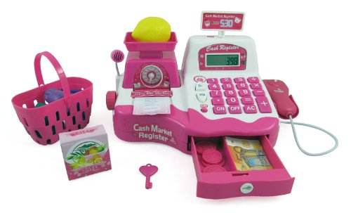 PowerTRC® Pink Supermarket Cash Register with Checkout Scanner, Weight Scale, Microphone, Calculator, Play Money and Food Shopping Playset for kids (Cash Register Scale compare prices)