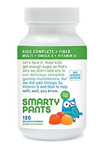 SmartyPants Kids Complete And Fiber Gummy Vitamins: Multivitamin, Vitamin D3, B12 (Methylcobalamin), Inulin Fiber AND Omega 3 DHA / EPA Fish Oil, 120 count