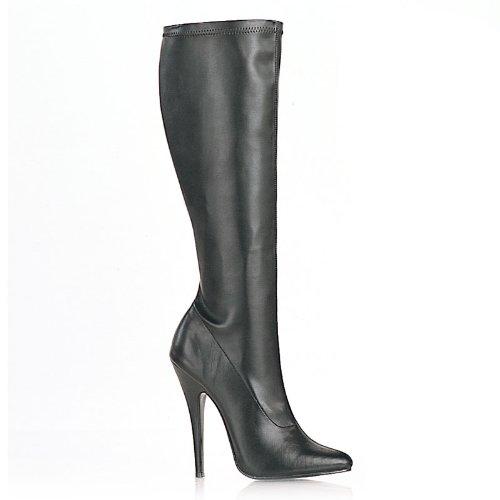 PleaserUSA Womens High Heels Knee Boots Domina-2000 black matt Size 5.5 UK