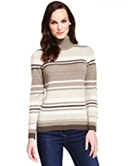 M&S Collection Pure Cashmere Roll Neck Striped Jumper