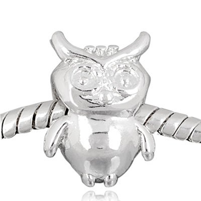 Andante-Stones 925 Silber Bead im Eule Design Element Kugel für European Beads Modul Armband + Organzasäckchen