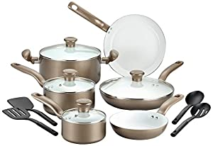 T-fal C728SE Initiatives Ceramic Nonstick PTFE-PFOA-Cadmium Free Dishwasher Safe Oven Safe Cookware Set, 14-Piece, Gold