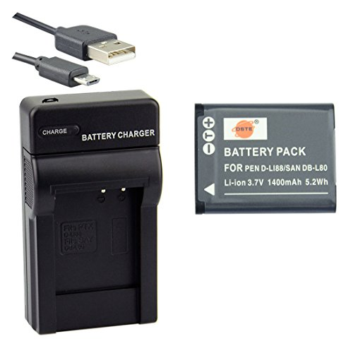 DSTE D-LI88 Li-ion Battery and Micro USB Charger Suit for Pentax Optio H90, P70, P80, W90, WS80 (Micro D Charger compare prices)