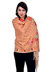 Matelco brown pashmina stole with aari work embroidery