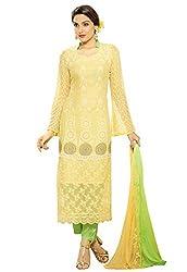 Isha Enterprise Women's Pure Chiffon Dress Material(KFD516-1958_Green, Yellow)