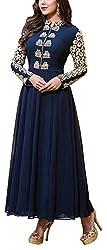 Hatdi Sales Women's Georgette Dress Material (Blue)