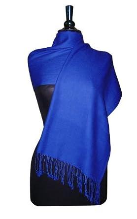 100% Pashmina Dark Blue/Indigo Blue Shawl Wrap. Woman's Scarf.