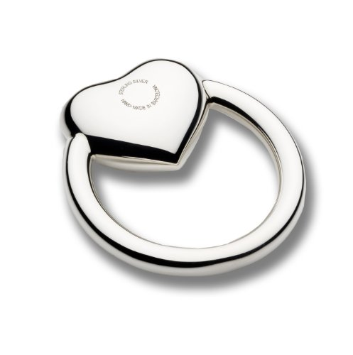 Cunill Heart Ring Baby Rattle, 2-Inch, Sterling Silver