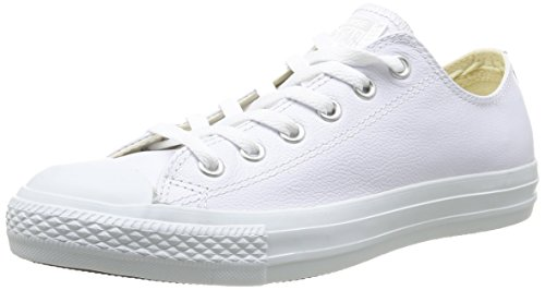 Converse Men's Chuck Taylor Leather Low Top Sneaker White Monochrome 10.5 M