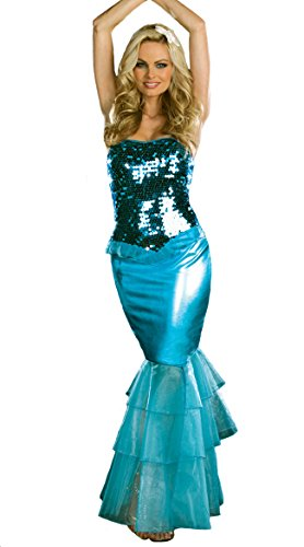 ReliBeauty Women's Gorgeous Sequin Bandeau Dress Mermaid Halloween Costume