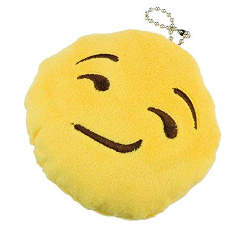 Ukamshop niedlich emoji smiley Kissen Weichen Cartoon gelb Kissen Spielzeug (Schlüsselanhänger grinsend)
