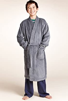 Older Boys' Luxury Ribbed Dressing Gown