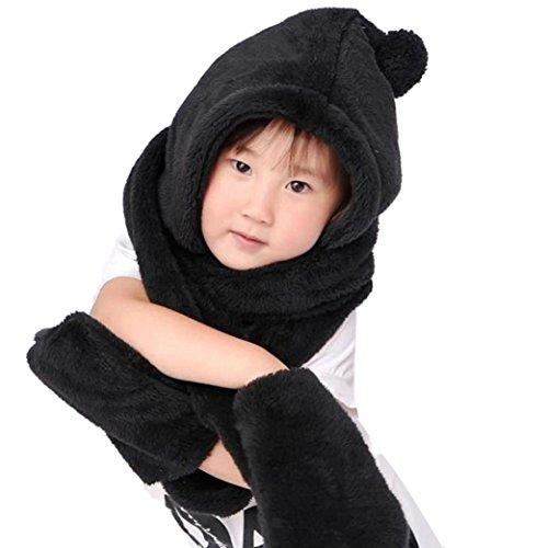 Culater® Ragazzi Ragazze caldo di lana Coif Hood sciarpa Caps Cappelli Guanti (Nero)