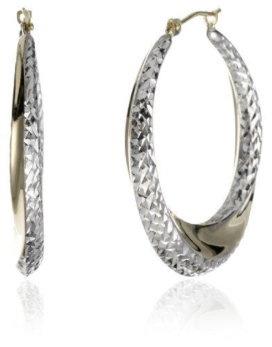 Orofusion Girl's 10k and Sterling Silver Diamond Cut Wave Hoop Earrings