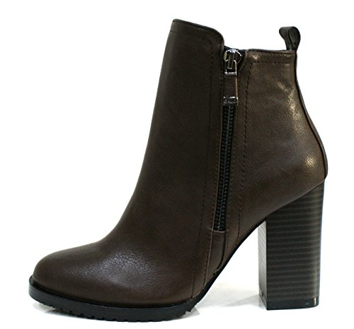 Gaudi Tronchetto Donna Verity Zip Tacco Cm 9 Leather Dk Brown_35