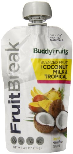 Buddy Fruits Fruitbreak Blended Fruit With Coconut Milk And Tropical, 4.2 Ounce (Pack Of 14)