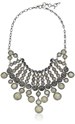 "Lucky Brand Silver Pave Ball Collar Necklace, 18"" + 2"" Extender"