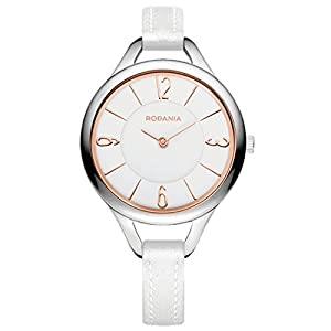 RODANIA 26089-23 32mm Stainless Steel Case White Calfskin Mineral Women's Watch